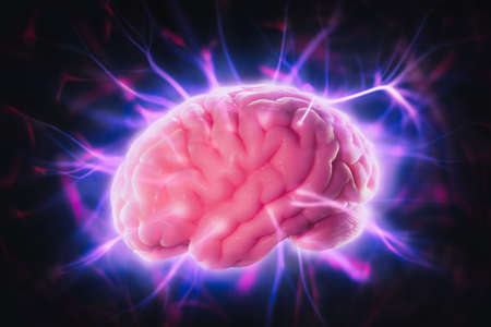 mind power concept with human brain and light rays