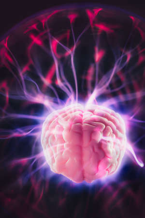 power concept: mind power concept with human brain and light rays