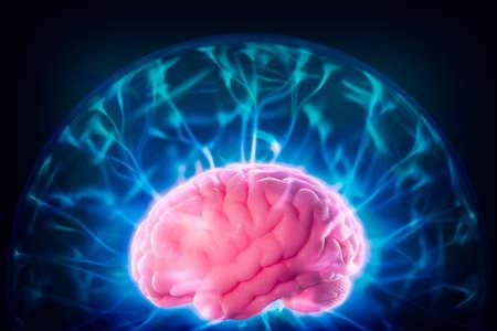 mente humana: imagen de alto contraste, el concepto de poder de la mente con el cerebro humano y los rayos de luz Foto de archivo