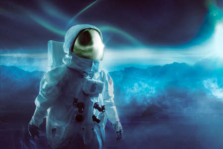 extraterrestrial: Astronaut walking on an unexplored planet