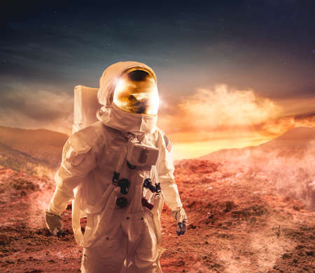 unexplored: Astronaut walking on an unexplored planet