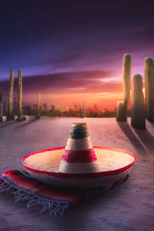 Mexican hat sombrero on a serape in a mexican desert at night