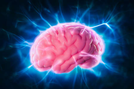 neurons: high contrast image, mind power concept with human brain and light rays