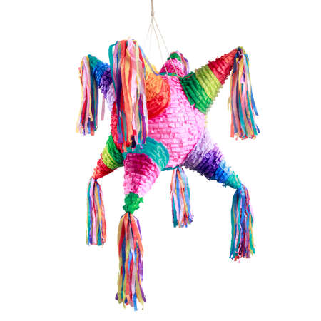 Colorful mexican pinata used in birthdays isolated on white 스톡 콘텐츠