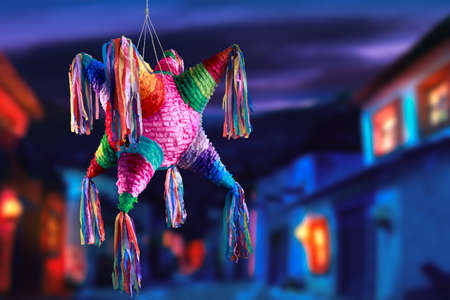 pinata: Colorful mexican pinata used in birthdays