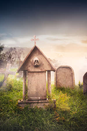 died: graveyard with fog with dramatic lighting Stock Photo