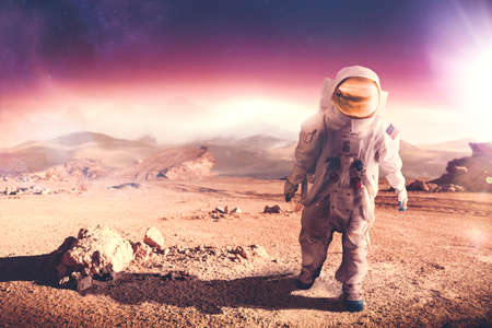 outer clothing: Astronaut walking on an unexplored planet