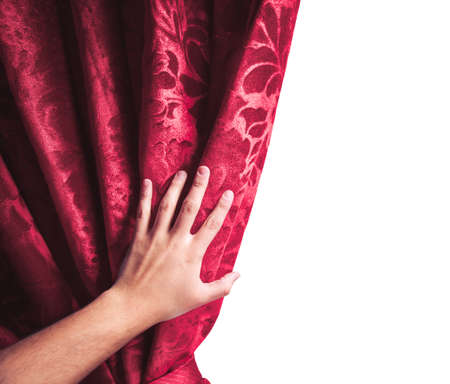 actor: theater curtain isolated on white with actor hand Stock Photo