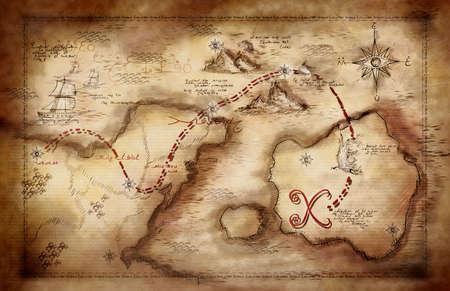 ビンテージの外観と手描きの宝の地図 写真素材