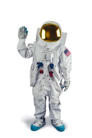 Astronaut op wit wordt geïsoleerd Stockfoto - 64144239
