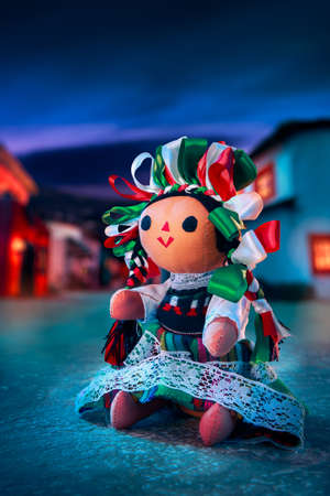 rag doll: Mexican rag doll in a traditional dress at night Stock Photo
