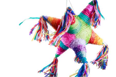 白で隔離の誕生日で使用されるカラフルなメキシコのピニャータ