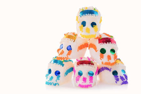High contrast image of sugar skulls used for dia de los muertos celebration isolated on white