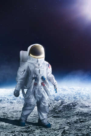 outer clothing: Astronaut standing on the moon