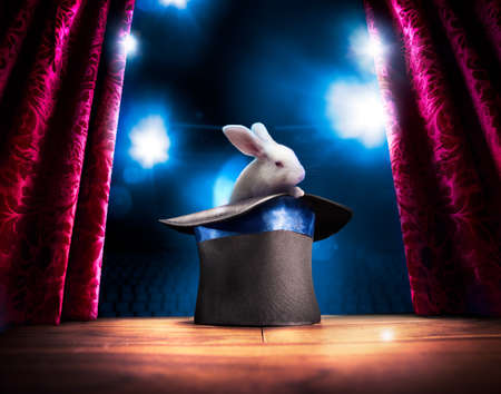 photo composite of a bunny in a magic hat on a stage