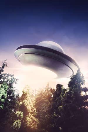 UFO vliegen in de lucht