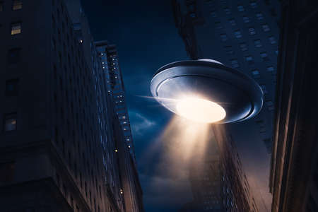 invader: high contrast image of UFO over a city at night with light rays  view from below