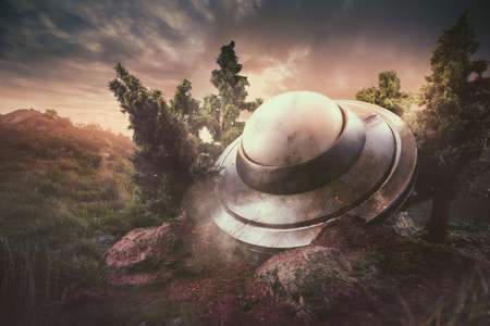 abducted: UFO crash in the forest Stock Photo
