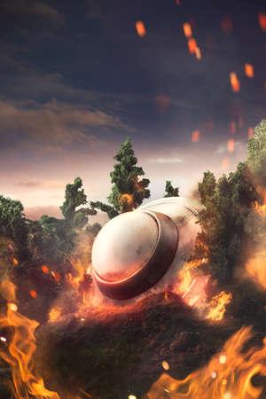 lightbeam: UFO crash in the forest Stock Photo