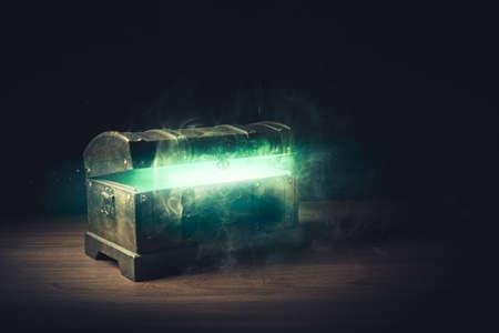 pandoras box with smoke on a wooden background Archivio Fotografico