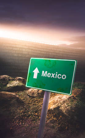 protectionism: Mexico  US border sign concept with high wall and dramatic lighting
