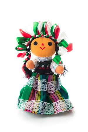 白で隔離手作りメキシコ縫いぐるみ人形 写真素材