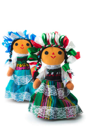 handmade mexican rag dolls isolated on white