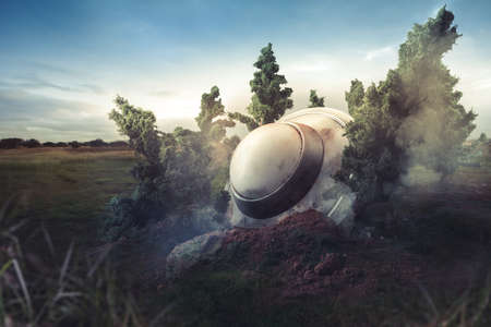 areas: UFO crash in the forest Stock Photo