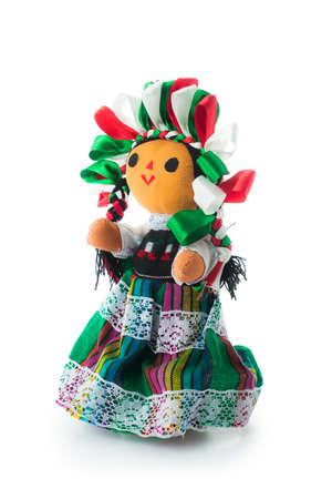 Met de hand gemaakte Mexicaanse rag pop geïsoleerd op wit Stockfoto - 75329603