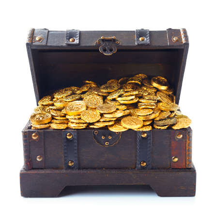 antique: Open treasure chest filled with gold coins isolated on white