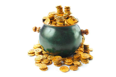golden: gold coins in a green pot isolated on white Stock Photo