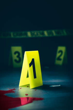 murdering: High contrast image of a crime scene with evidence markers Stock Photo