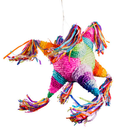 Colorful mexican pinata used in birthdays and posadas isolated on white Banco de Imagens