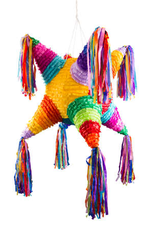Colorful mexican pinata used in birthdays and posadas isolated on white 免版税图像