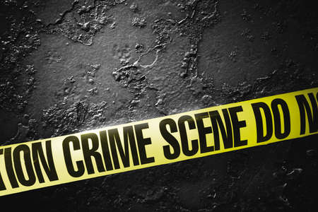 Crime scene tape with a grungy background, high contrast image