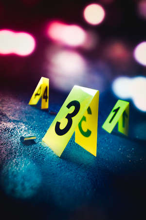 crime scene with evidence markers, high contrast image Stock Photo