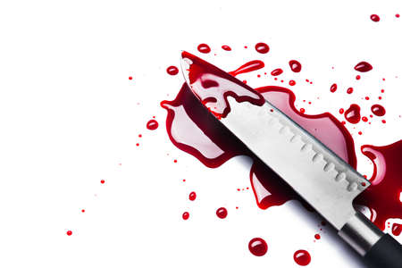 bloody knife isolated on white 스톡 콘텐츠