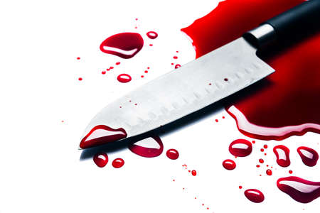 bloody knife isolated on white Archivio Fotografico