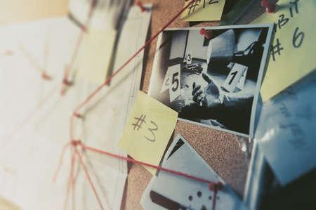 Detektivtafel mit Beweisen, Tatortfotos und Karte. kontrastreiches Bild