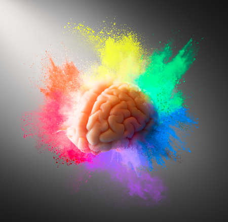 Creativity concept with a brain exploding in colors