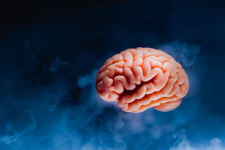 Brainstorming concept with human brain floating on a dark background Stock Photo