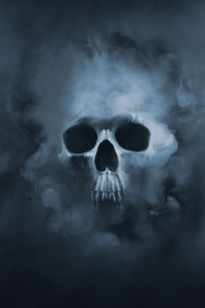 Scary skull emerging from a cloud of smoke  high contrast image