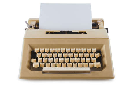 Vintage typewriter machine isolated on white 스톡 콘텐츠 - 114254634