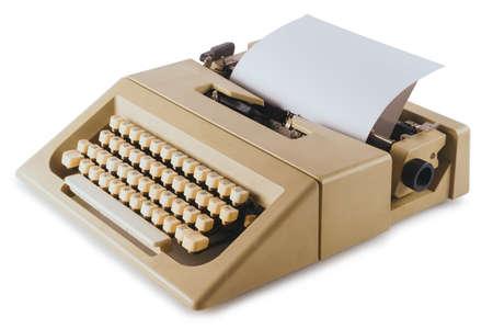 Vintage typewriter machine isolated on white 스톡 콘텐츠
