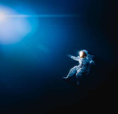 Astronaut floating in outer space  high contrast image