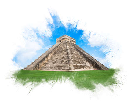 Temple of Kukulkan, pyramid in Chichen Itza, Yucatan, Mexico  exploding style isolated on white