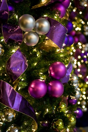 beautiful purple and gold christmas ornaments and lights stock photo 4298153