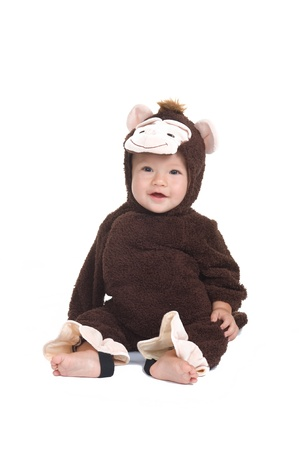 Adorable little boy wearing a monkey costume for Halloween  Stok Fotoğraf