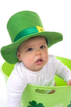Adorable baby boy wearing a St  Patrick