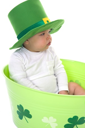Adorable baby boy dressed in a St  Patrick